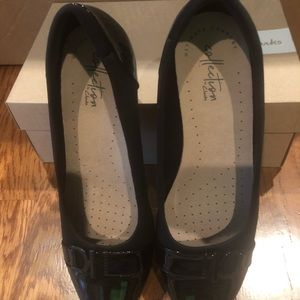 Clarks Shoes - Clark's Women's wedges black patent 8.5 wide